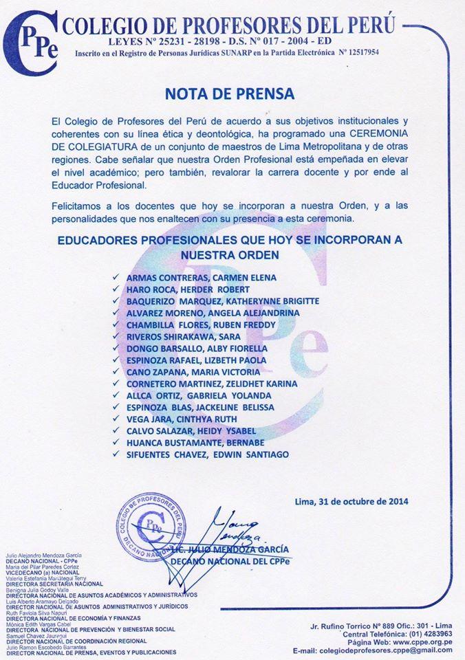 Felicitamos a los maestros que hoy se incorporan a nuestra orden profesional