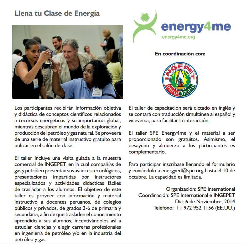 Taller para docentes del Spe Energy4me