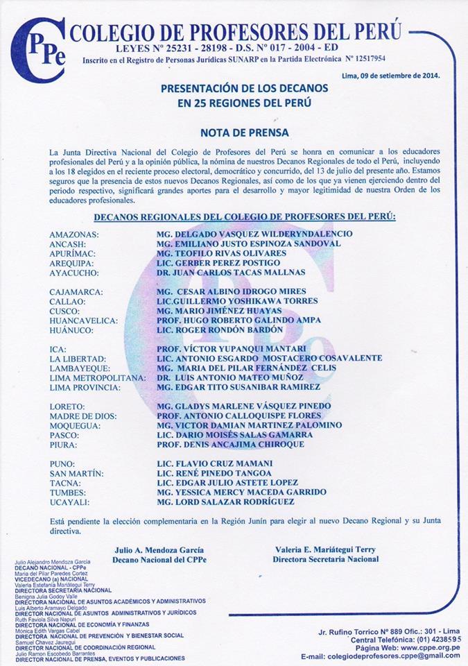 Nota de prensa – Decanos regionales del CPPe