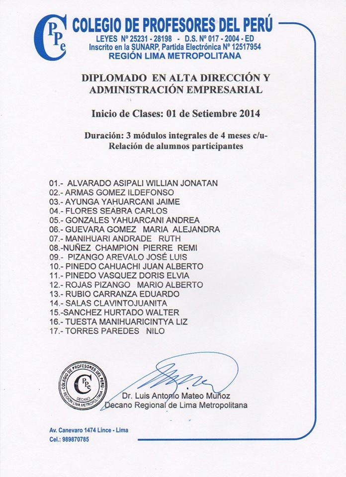 Diplomas del CPPe Lima Metropolitana