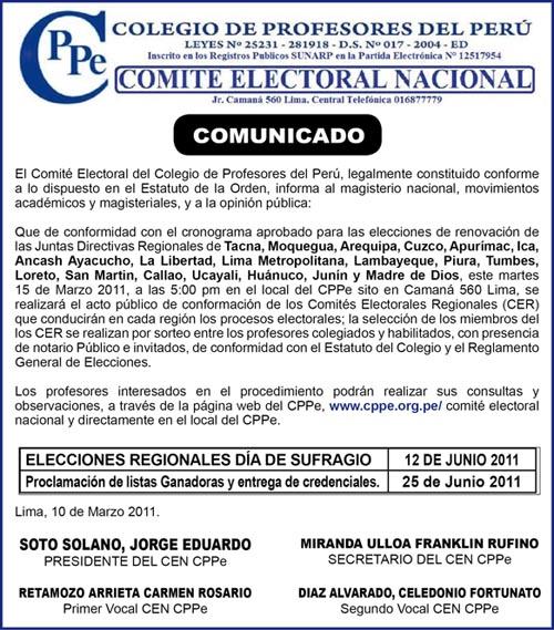 Convocatoria al acto de conformación de los Comités Electorales Regionales
