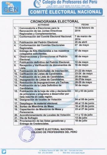 Cronograma Electoral CPPe