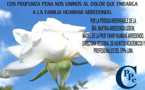 Sentido pésame a la Prof. Fanny Huamaní Arredondo