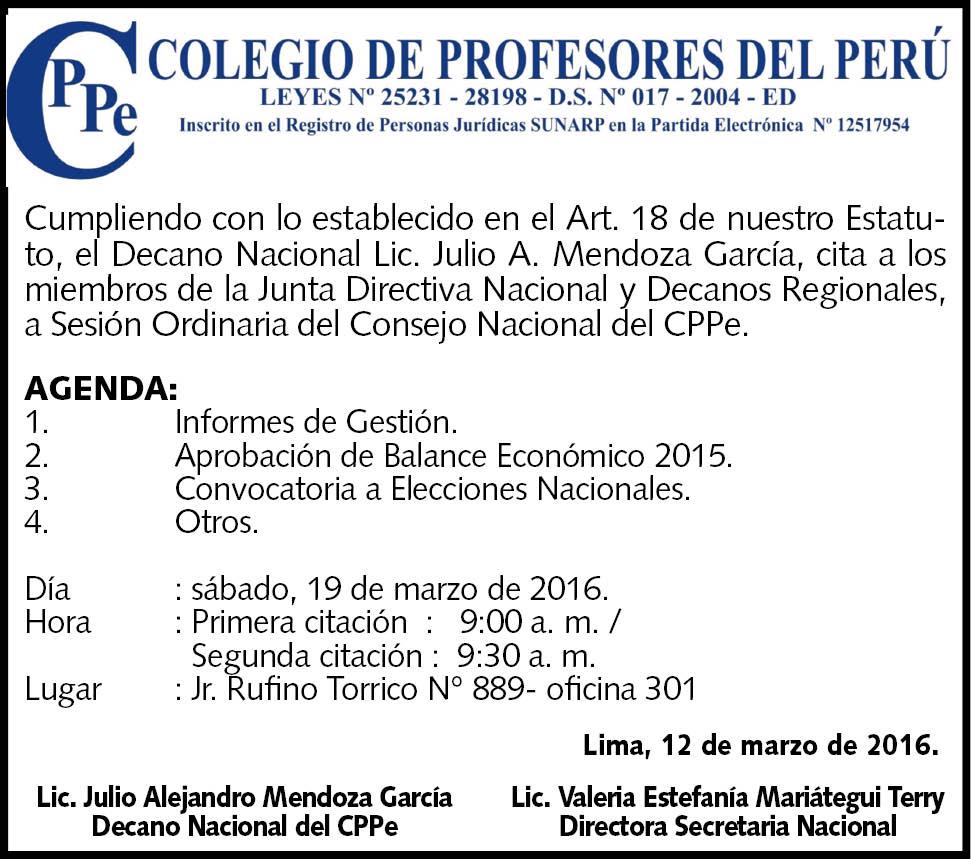 CONVOCATORIA PARA CONSEJO ORDINARIO DE DECANOS REGIONALES DEL CPPe