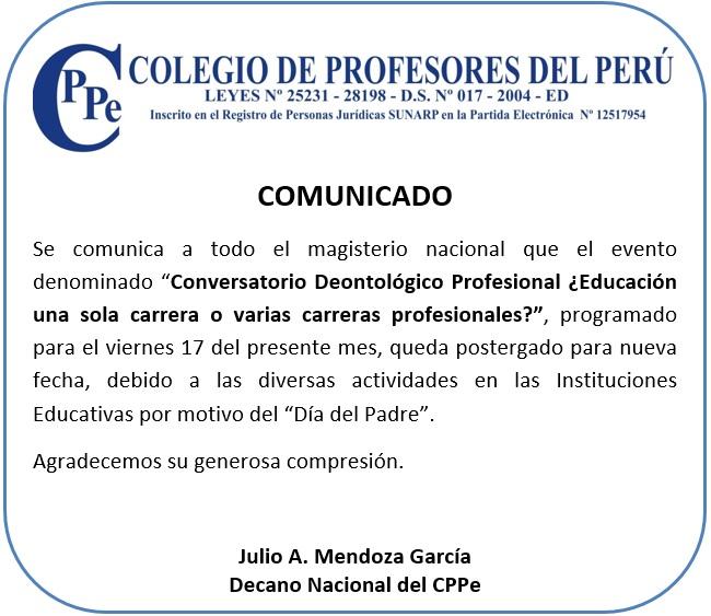 Comunicado sobre Conversatorio Pedagógico Profesional