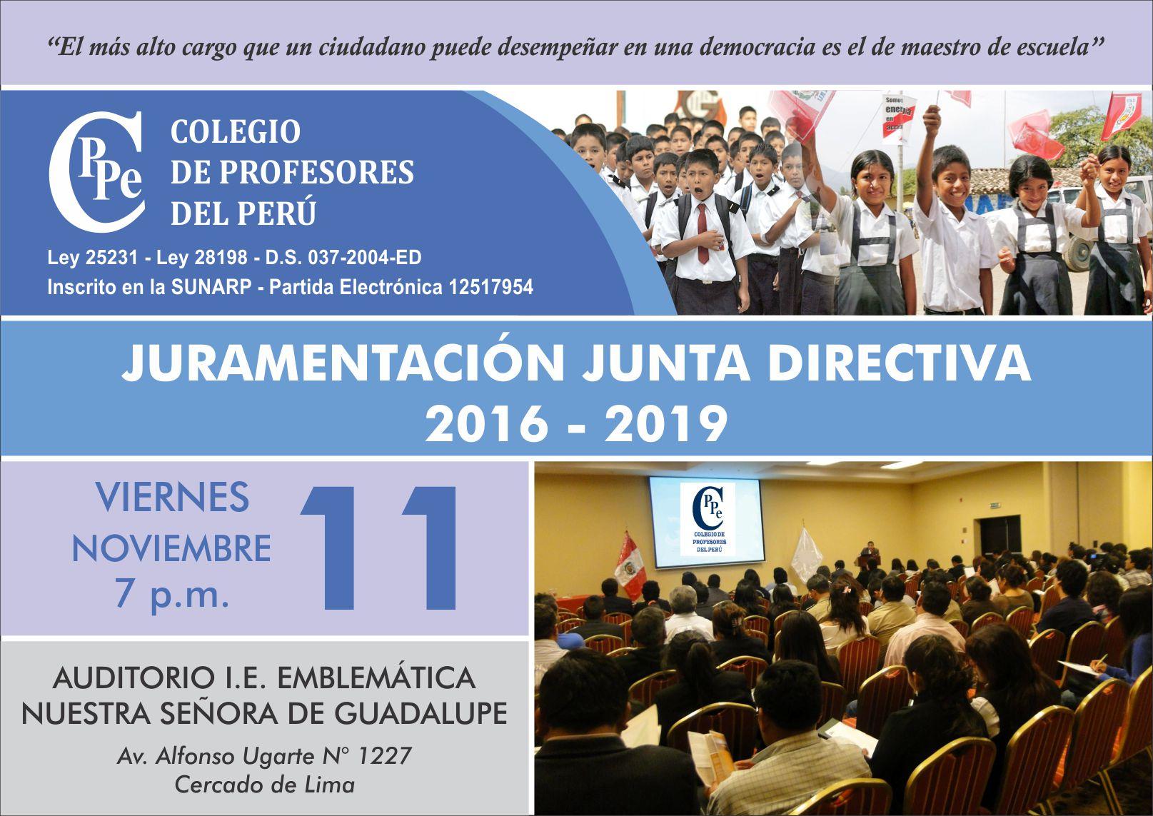 INVITACIÓN A LA JURAMENTACIÓN DE LA NUEVA JUNTA DIRECTIVA NACIONAL DEL CPPe, PERIODO 2016-2019
