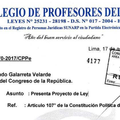COLEGIO DE PROFESORES DEL PERÚ PRESENTA PROYECTO DE LEY DE MODIFICACIÓN DEL CARÁCTER PUNITIVO DE LA EVALUACIÓN DOCENTE