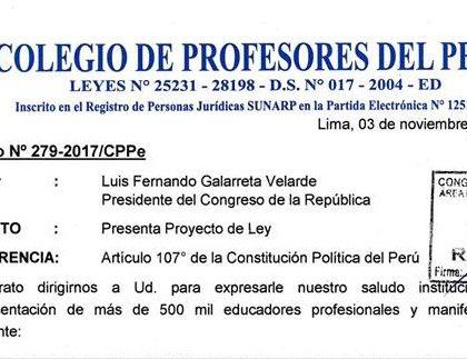 CPPe PRESENTÓ PROYECTO DE LEY QUE MODIFICA LA LEY DE REFORMA MAGISTERIAL, INCORPORANDO EL CAPÍTULO REFERIDO AL PROFESOR CESANTE Y JUBILADO.