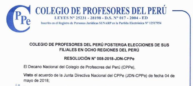 CPPe POSTERGA ELECCIONES DE SUS FILIALES EN OCHO REGIONES DEL PERÚ.