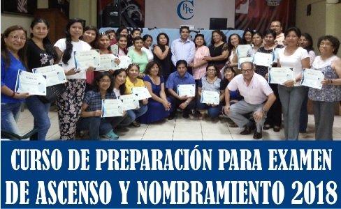 CURSO DE PREPARACIÓN PARA EL EXAMEN DE ASCENSO DE ESCALA Y NOMBRAMIENTO 2018