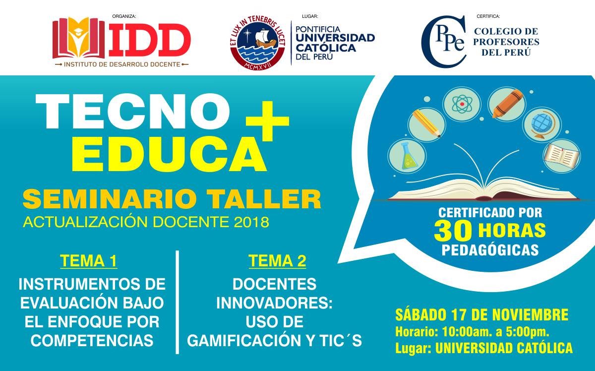 """SEMINARIO TALLER """"TECNO+EDUCA"""""""