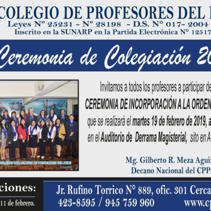 Invitamos a participar en la I Ceremonia de Colegiación del CPPe 2019