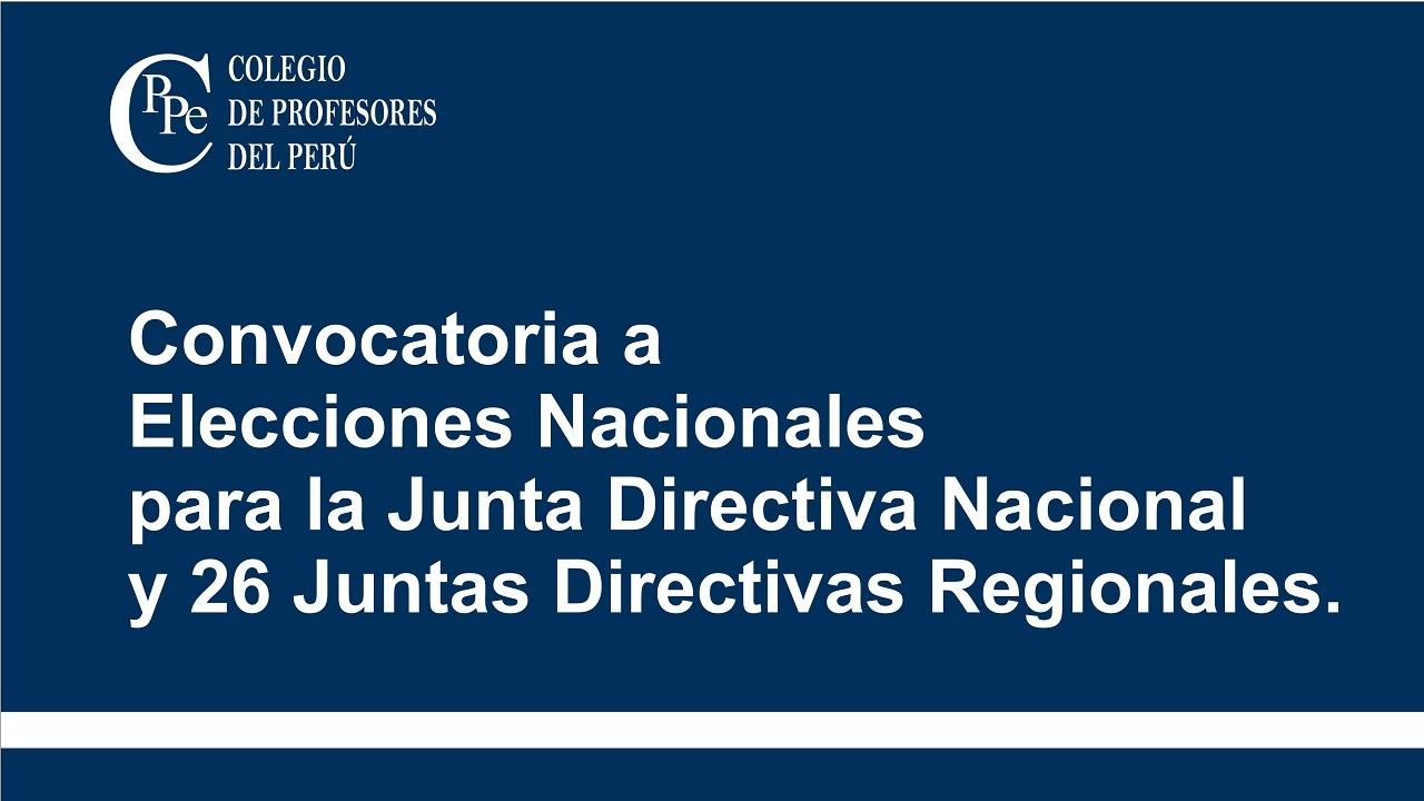 Convocatoria a Elecciones Nacionales del CPPe.