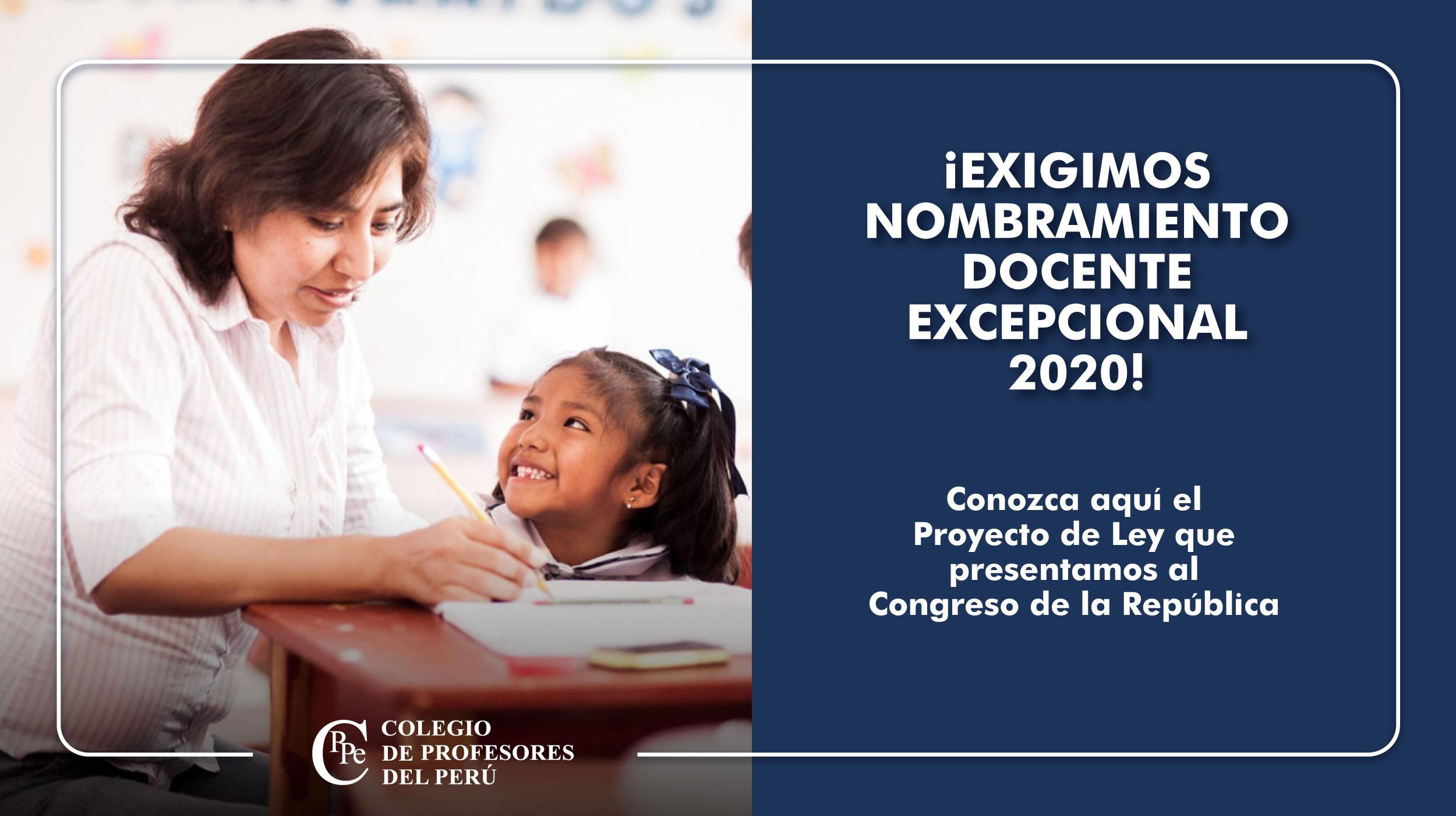 PRESENTAMOS PROYECTO DE LEY PARA NOMBRAMIENTO DOCENTE EXCEPCIONAL 2020