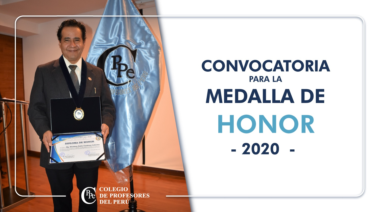 """CONVOCATORIA A CONCURSO """"MEDALLA DE HONOR 2020"""" DEL CPPe"""
