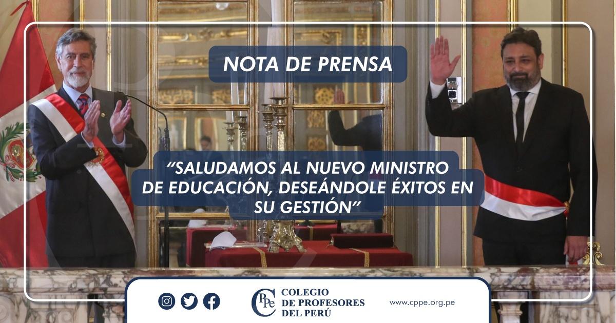 CPPe SALUDA A NUEVO MINISTRO DE EDUCACIÓN Y DESEA ÉXITOS EN SU GESTIÓN