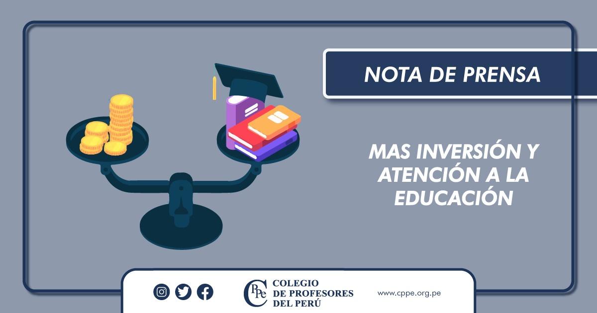 CPPe EXIGE MÁS INVERSIÓN Y ATENCIÓN A LA EDUCACIÓN