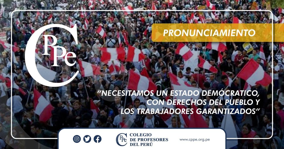NECESITAMOS UN ESTADO DEMOCRÁTICO, CON DERECHOS DEL PUEBLO Y LOS TRABAJADORES GARANTIZADOS