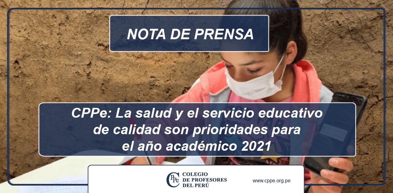 CPPe: La salud y el servicio educativo de calidad son prioridades para el año académico 2021