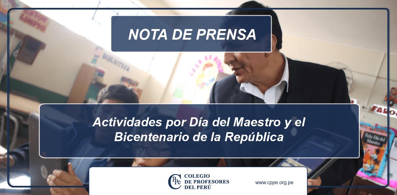 Actividades por Día del Maestro y el Bicentenario de la República